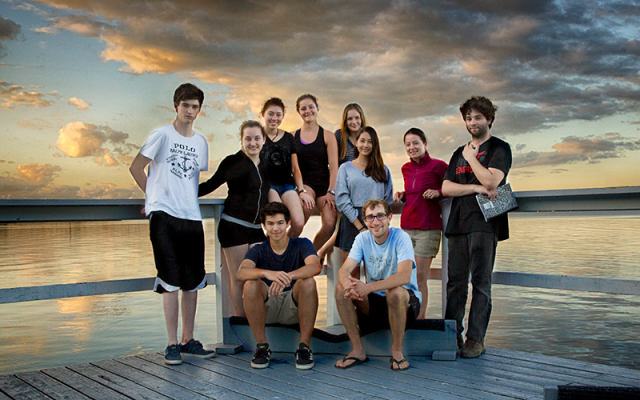 High school student researchers with faculty mentors, Drs. Brent Boscarino and Meghan Brown, at the Bozzuto Boathouse at Hobart and William Smith College. From left to right (back row): Chris Canfield, Mia Foucek, Ellie Stapylton, Julia Roellke, Kate McKeon, Sonomi Oyagi, Meghan Brown, Jesse Held. (front row): Matt Warren, Brent Boscarino. Photo Credit: Kevin Colton.